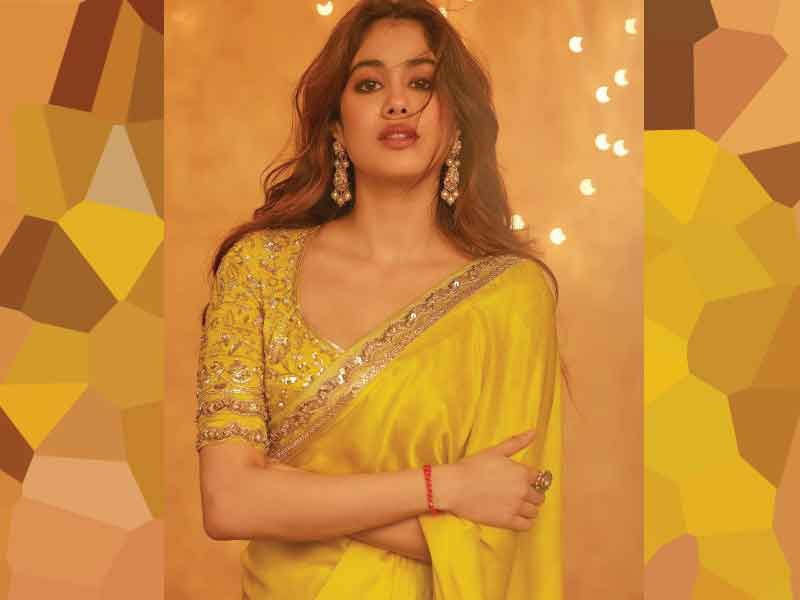 Janhvi Kapoor in classic yellow saree designed by Manish Malhotra | Moviekoop