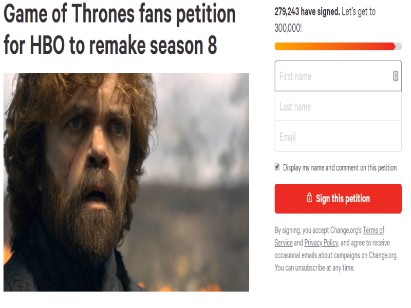 Game of Thrones is Over but Fandom is still in Denial-- Actors of the show are hurt by the online petition for a Remake.