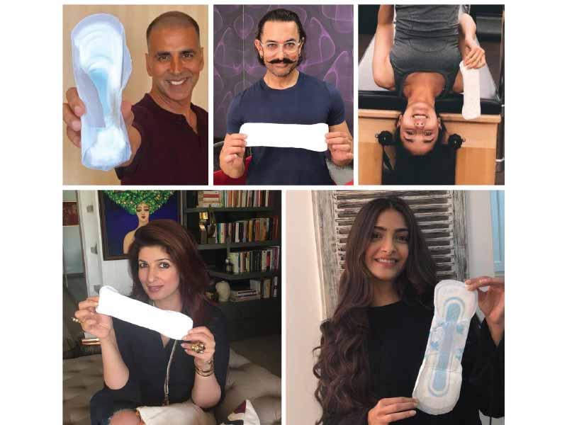 Padman Challenge: Akshay Kumar, Aamir Khan, Alia Bhatt poses with sanitary pad, Bollywood stars challenge each other to pose!