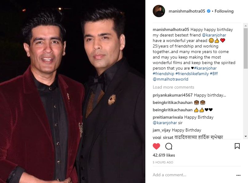 Manish malhotra and Karan Johar