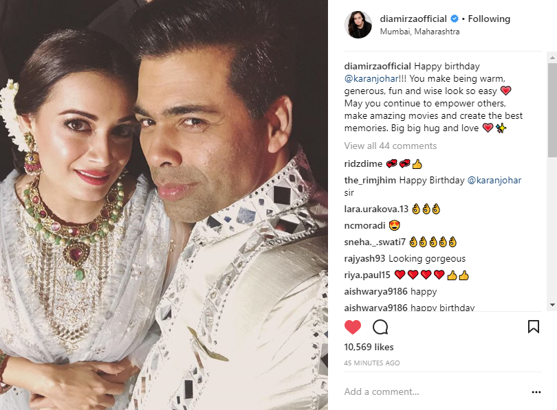 Dia mirza and Karan Johar